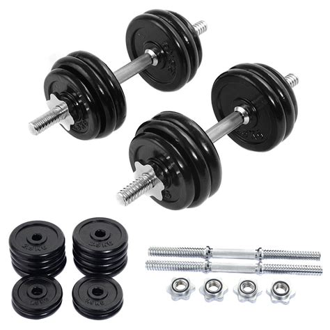 66 Lb Weight Dumbbell Set Adjustable Cap Gym Barbell Iron