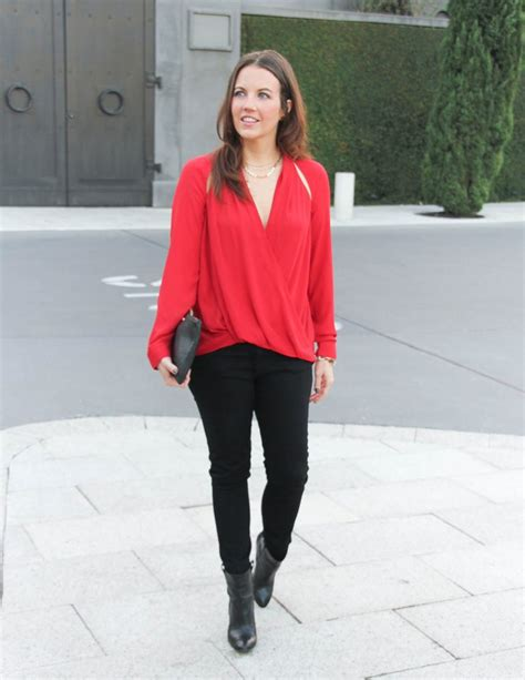 Date Night Outfit Red Deep V Blouse | Lady in VioletLady in Violet