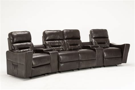 leather sectional recliner sofa with cup holders mcombo 4 seat leather home theater recliner media sofa w