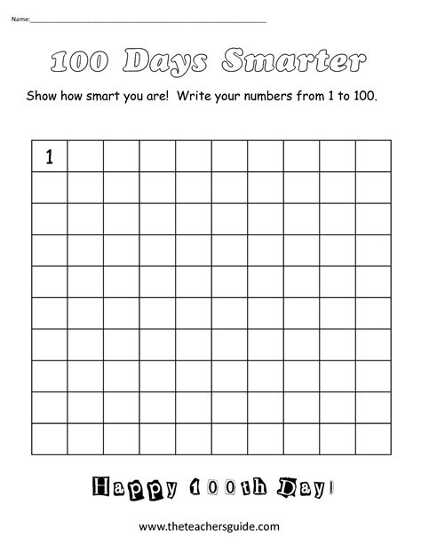 the s guide 100th day of school theme page