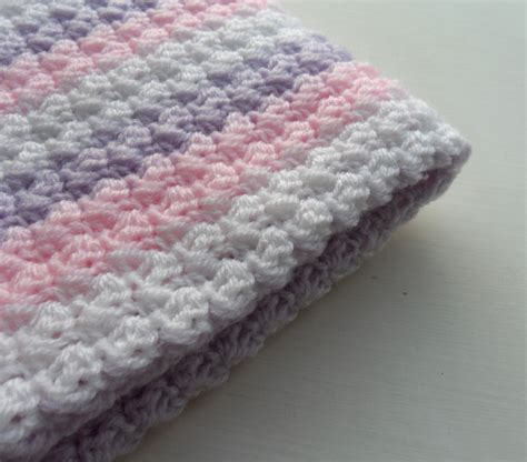 crochet baby blanket crochet baby blanket baby pink purple white baby shower gift stripy blanket made to order on luulla