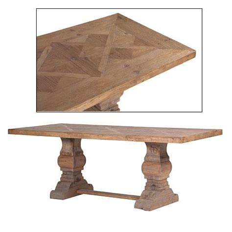 parquet dining table reclaimed wood parquet top dining table furniture la 1416