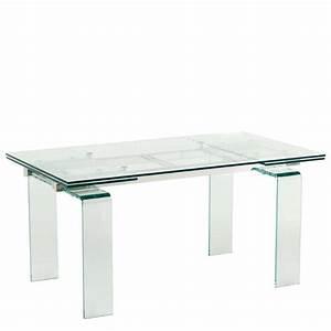 table design rectangulaire extensible en verre tania 4 With table sejour en verre