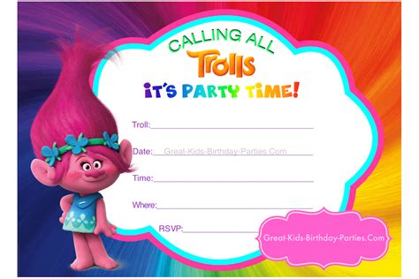 Trolls Invitation Templates Free by Trolls Party