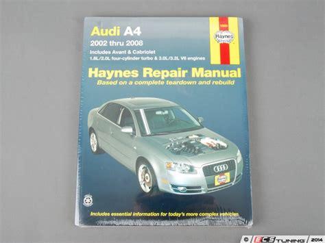 free car repair manuals 2002 audi s4 electronic valve timing haynes 15030 haynes repair manual b6 b7 2002 2008 audi a4
