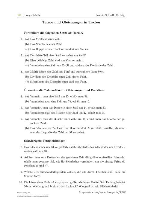 Aufgaben Terme Und Gleichungen In Texten Mit Lösungen