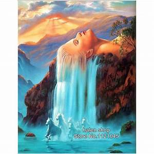 Popular beautiful waterfalls buy cheap beautiful for What kind of paint to use on kitchen cabinets for waterfall canvas wall art