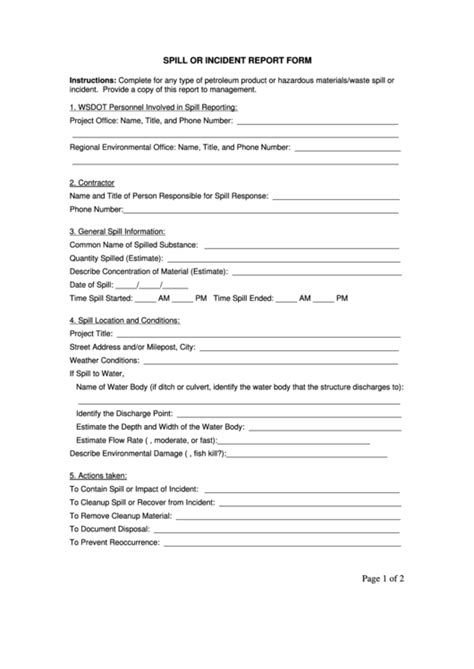 spill  incident report form page