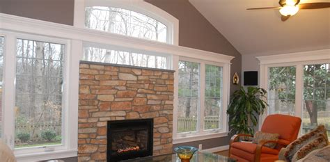 fireplace  arched windows commonwealth home design