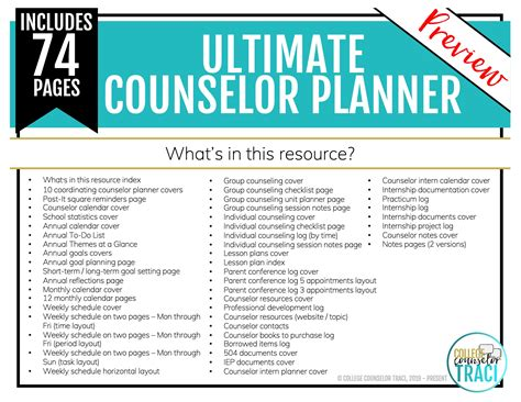school counselor planner floral mint theme college