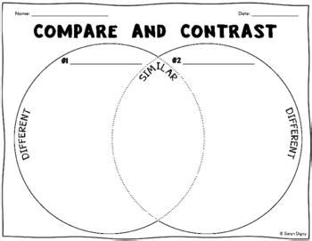 venn diagram compare  contrast worksheet graphic