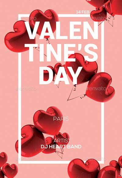 valentines day party poster  flyer template