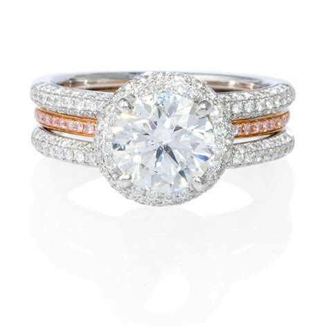 two tone engagement rings 83ct simon g 18k two tone gold halo engagement ring setting