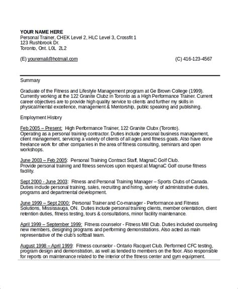Personal Trainer Resume Templates by Sle Personal Trainer Resume 9 Exles In Word Pdf