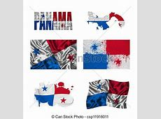 Panamanian flag collage Panama flag and map in different