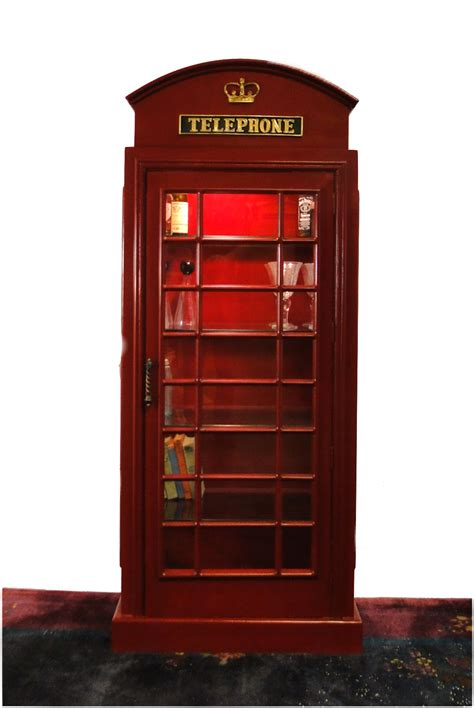 english british replica telephone booth shelf unit red