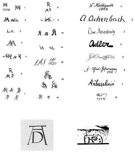 artist monograms  signatures lines  colors