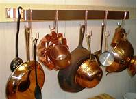 copper pot rack 24 IN. X 5 1/2 X 1 1/2 IN. WALL MOUNTED SOLID COPPER POT ...