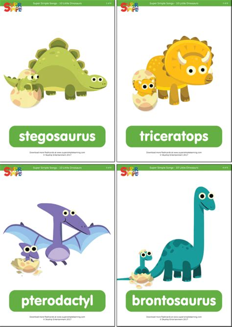 dinosaurs flashcards super simple