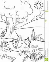 Pond Duck Coloring Flowers Tree Runs Summer Colour There Around sketch template