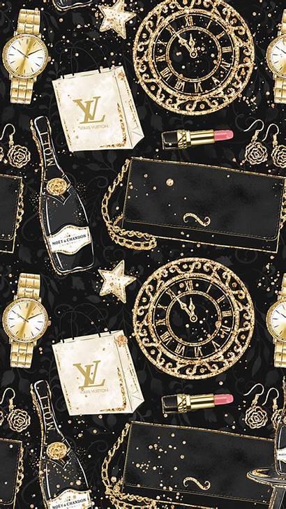 Wallpapers Vuitton Louis Iphone Gold Glitter Chanel