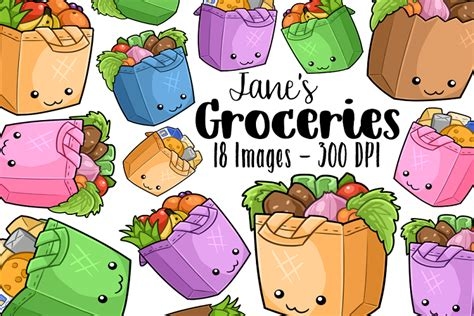 kawaii grocery bag clipart