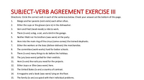 subject verb agreement high school worksheets worksheets