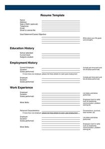 free printable resume forms free printable resume templates blank