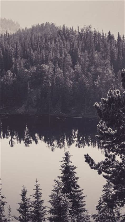 canada lake black  white  iphone wallpapers