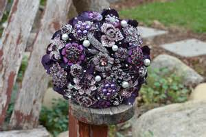 Purple Wedding Bouquets with Bling
