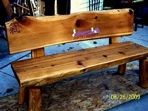 Custom Northern White Cedar memorial bench with rose