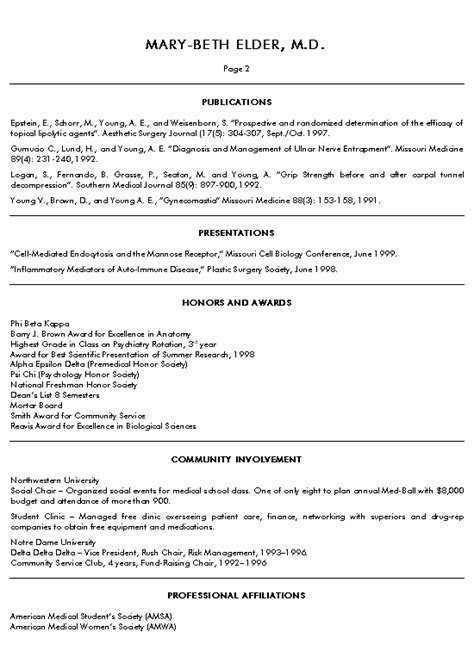 Med School Student Resume by School Resume Resume Template