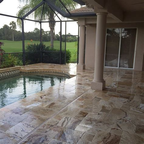Resurface Pool Deck With Pavers by Pavers And Travertine Mr Marcite Pool Resurfacing