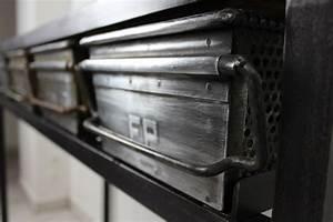 Console Bois Metal Industriel : console casier loft industeel ~ Teatrodelosmanantiales.com Idées de Décoration