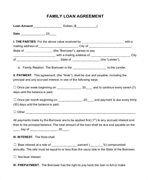 family agreement form sle loan agreement form 9 free documents in pdf