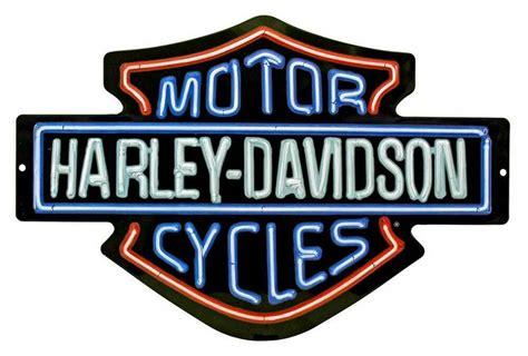 Harley-davidson Neon Design Embossed Bar & Shield Tin Sign