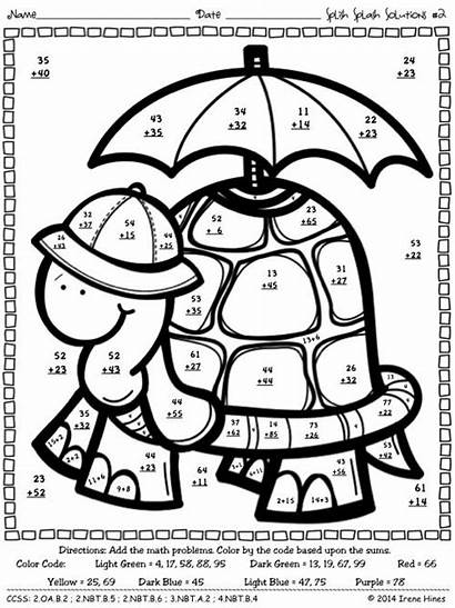 Digit Addition Regrouping Math Worksheets Code Coloring