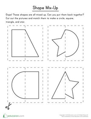 cut out shapes worksheet education 564 | cut shapes sorting categorizing preschool