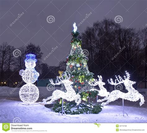 electric christmas trees whos idea was it electric decorations and tree moscow stock photo image 22715158