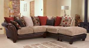 Perez leather fabric pillow back 3 seater corner sofa with for Perez 4 seater pillow back sectional sofa