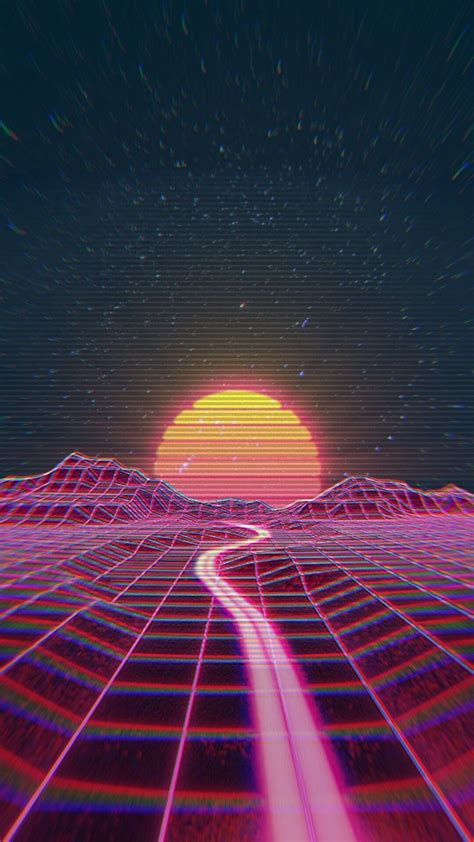 retro wave synth wave rainbow synthwave