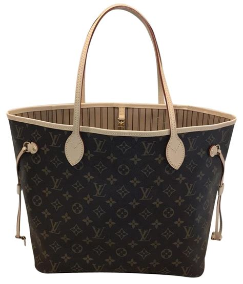 louis vuitton neverfull mm monogram beige canvas tote tradesy