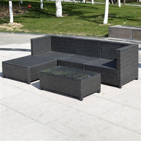 outdoor patio wicker sofa set 5pc pe rattan