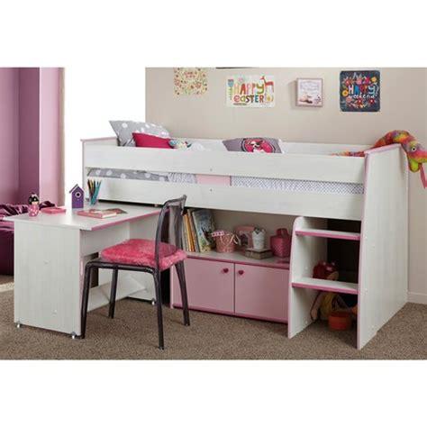 lit combiné surélevé avec bureau et rangement intégrés 1