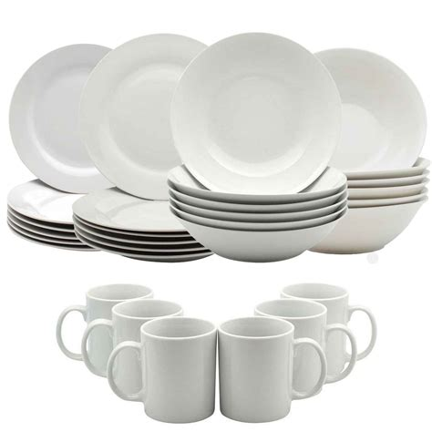 white wall hangings white dinner crockery dining set plates bowls mugs cups