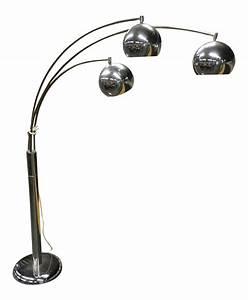 Vintage mid century chrome three arm arc floor lamp for Darlington floor lamp chrome