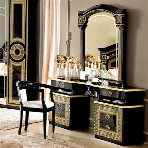 medusa black high gloss gold or silver dressing table f d interiors ltd