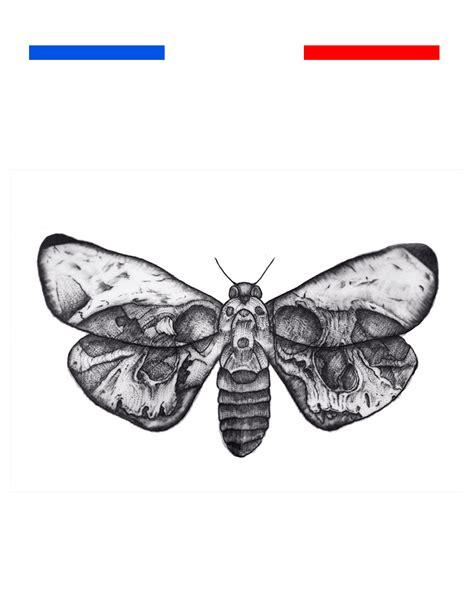 tatouage temporaire harry style papillon tete de mort