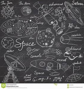 Space Doodles Icons Set. Hand Drawn Sketch With Solar ...