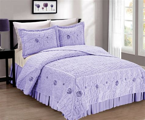 Quilted Coverlet by Bnf Home Faux Fur Ribbon Embroidery 3 Pc Microfiber